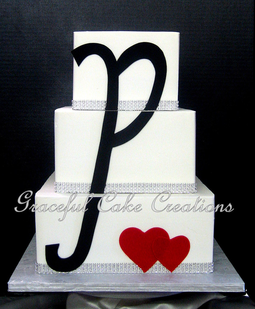 Square Wedding Cake With Hearts