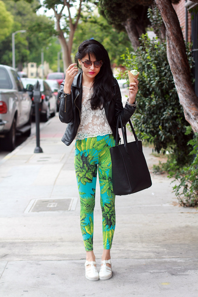 Tarte Vintage Lacerta Lace Top, Faux Leather moto jacket, Jelly Rounds in tortoise, Versace for H&M palm trees leggings, 90's Inkwell jellies jelly sandals with heel at shoptarte.com