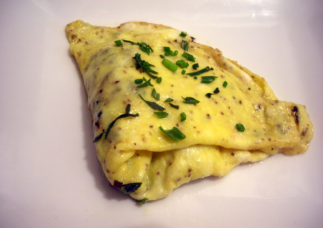 One-egg omelette with ramps