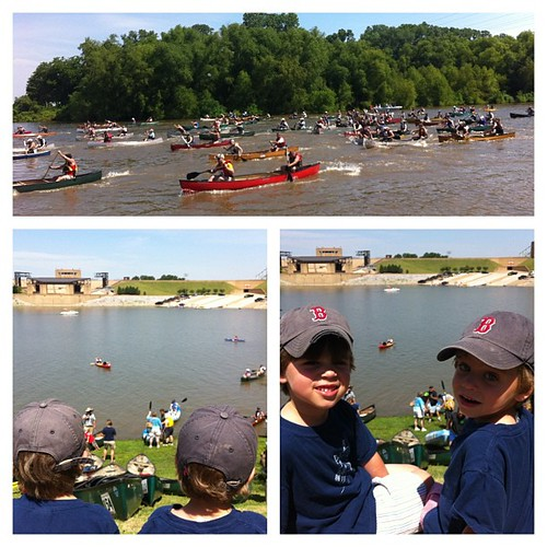 Enjoyed a fun mommy/sons morning on the Mississippi River. They loved the canoe & kayak race. Fun seeing @caseycockrum too!