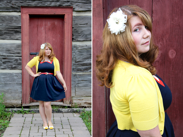 blog wanderlust whimsy megan outfit ootd what I wore modcloth red white and cute blue yellow hive and honey how soon is wow