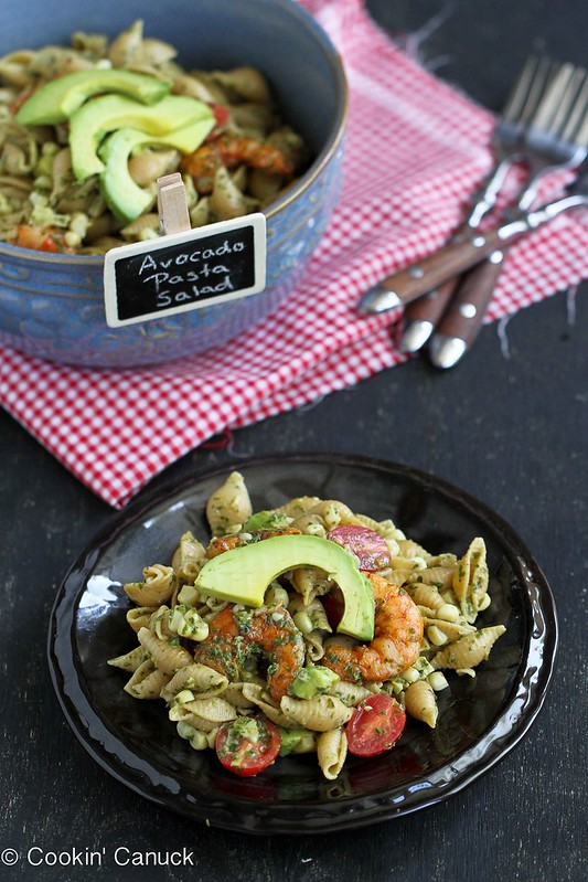 Shrimp, Corn & California Avocado Pasta Salad Recipe | cookincanuck.com #recipe #pasta