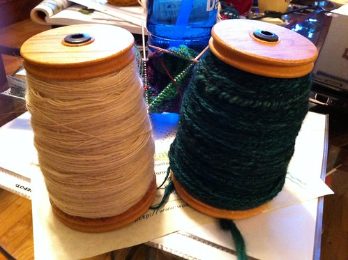 Tour de Fleece progress for day 8 - filled the first bobbin with Teeswater roving and Navaho-plied the green Merino/yak. by BlueDragon2
