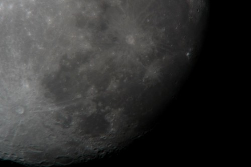 moon shot - handheld Lumix LX-3 over telescope eyepiece