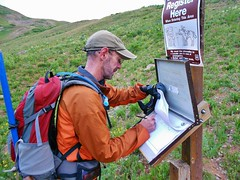 Signing Trail Register for Mt.Sneffels