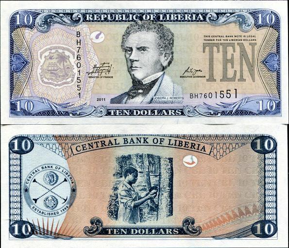 10 Dolárov Liberia 2011, Pick 27f