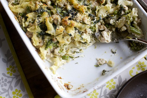 baked pasta with broccoli and sausage
