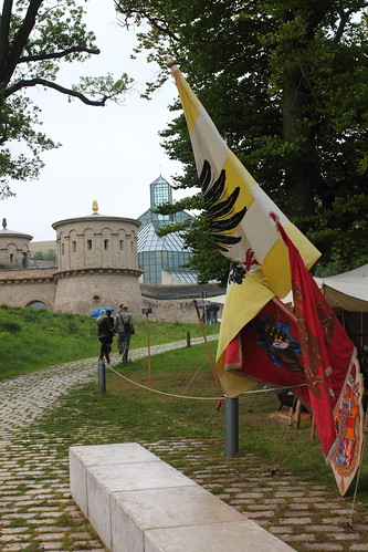 Flags on front of Fort Thüngen