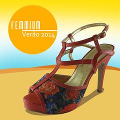 Sandália salto alto floral laranja