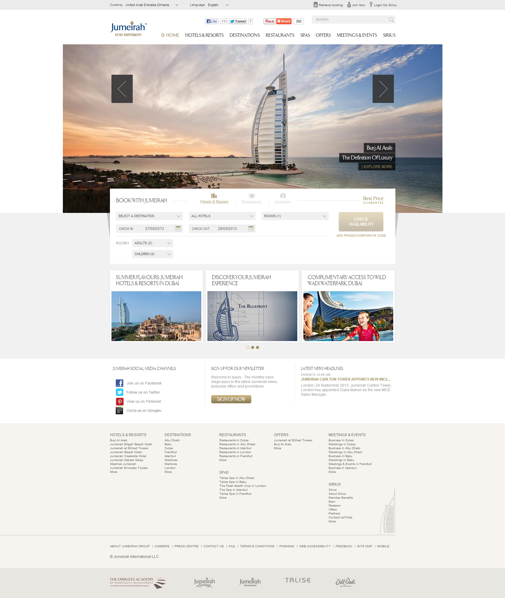 Website Inspiration - Jumeirah Hotel