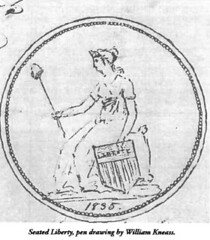 Seated Liberty drawing by Kneass