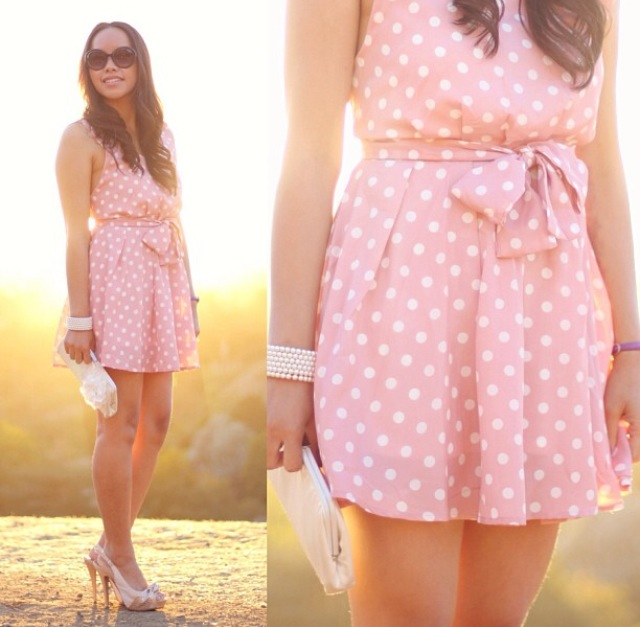 Pink polka dot dress, white clutch, satin heels, pearl bracelet