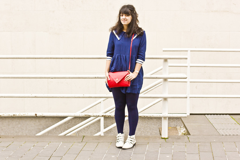 sailor dress and a red bag