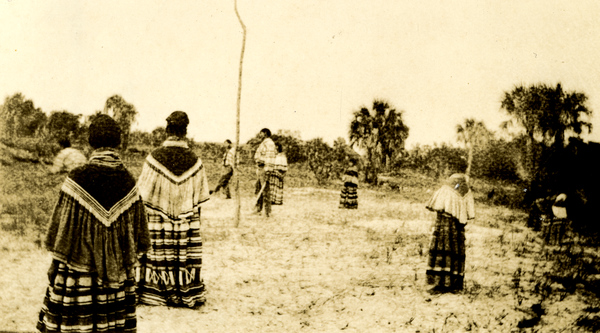 Seminoles playing stickball in the Big Cypress Swamp, Florida