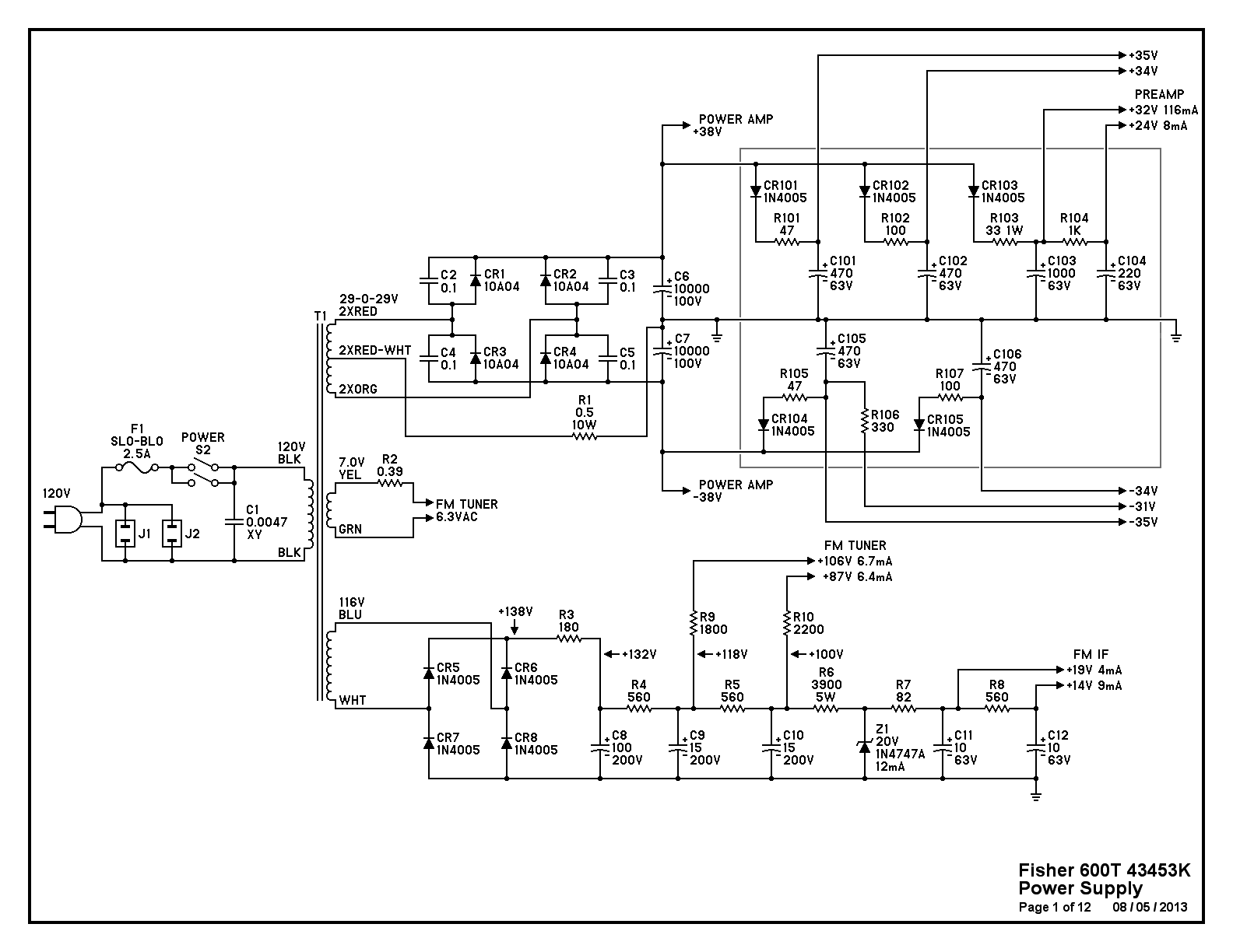 fisher 600 t restorations page 2 audiokarma home audio stereo here are the 12 pages of the revised schematic diagram pages 1 2 power supply and 9 10 phono preamp have significant changes from the original circuit