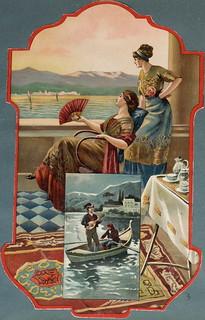 Almanach des Postes et des Télégraphes, registre 1914-1915 - Coucher de soleil sur les lacs italiens