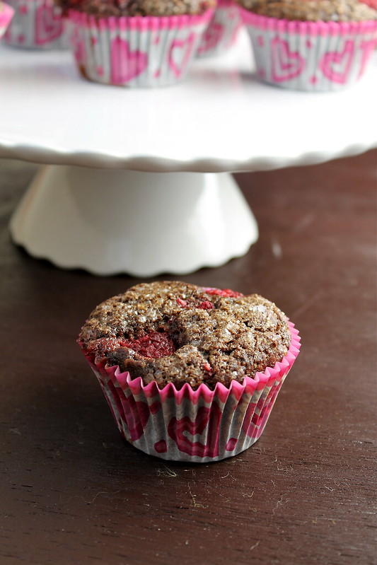 Double-Chocolate Raspberry Cupcake Muffin - vegan