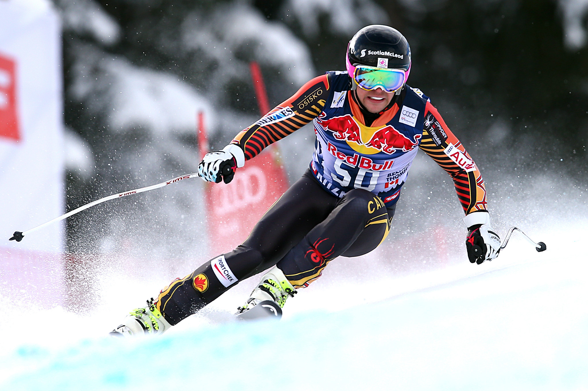 Ben Thomsen competes on the downhill track in Kitzbuehel, AUT