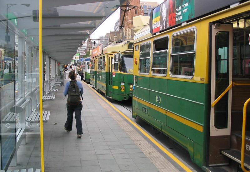 Trams queued in Swanston Street at Flinders Street (March 2004)