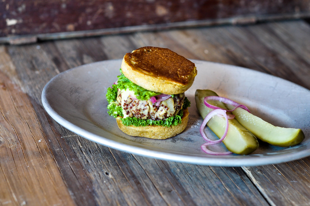 Quinoa Burger with Chickpea Buns
