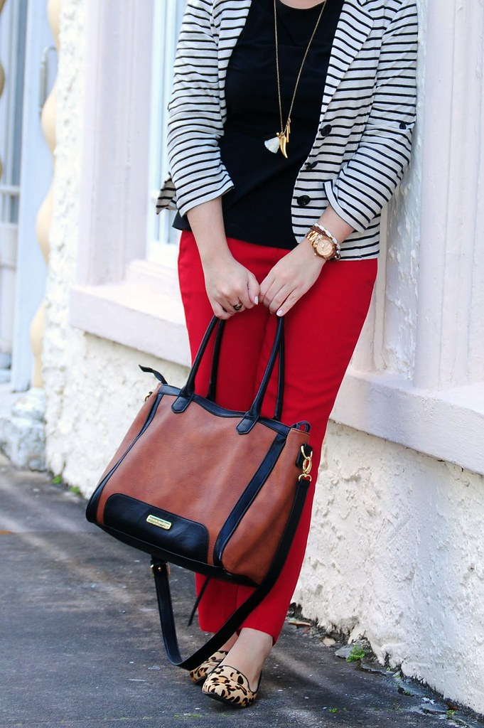 red, black, brown + leopard and stripes = eclectic work outfit