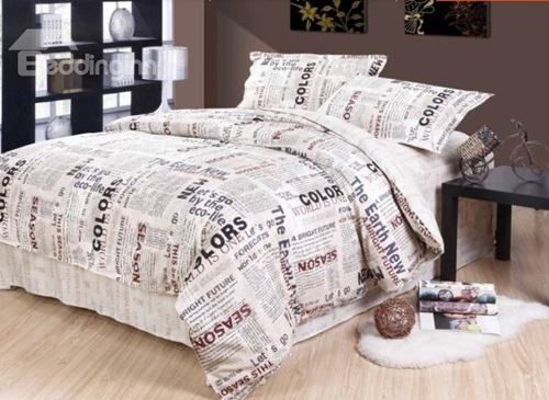 New-Style-Unique-Newspaper-Pattern-4-Piece-Cotton-Duvet-Cover-Sets-10974335