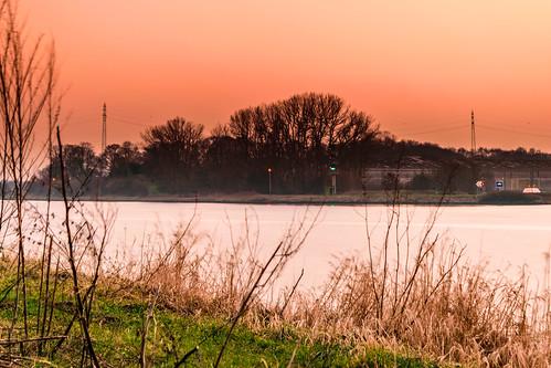 winter deutschland sonnenuntergang nordostseekanal schleswigholstein schachtaudorf