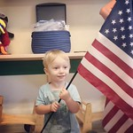Archer got to be the flag holder in preschool today.  by bartlewife