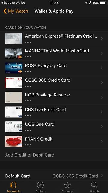 Apple Pay (Singapore) - VISA/MasterCard - Apple Watch