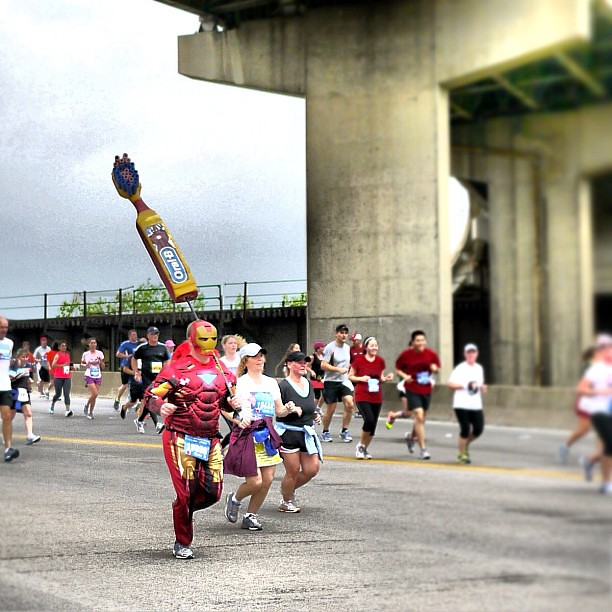 brush your teeth and run your marathon kids and you too can grow up to be like Iron Man #flyingpig #marathon #cincinnati #ohio