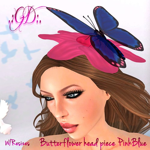 ._GD_. Butterflower head piece PinkBlue ._Glow Designs_.