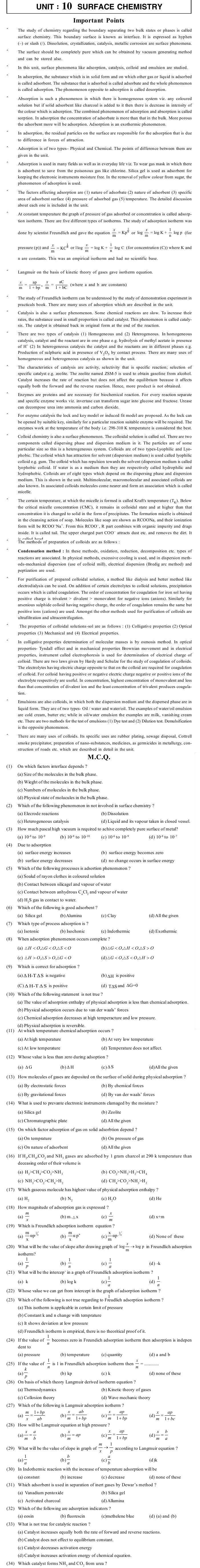JEE and AIPMT Question Bank Chemistry - Surface Chemistry