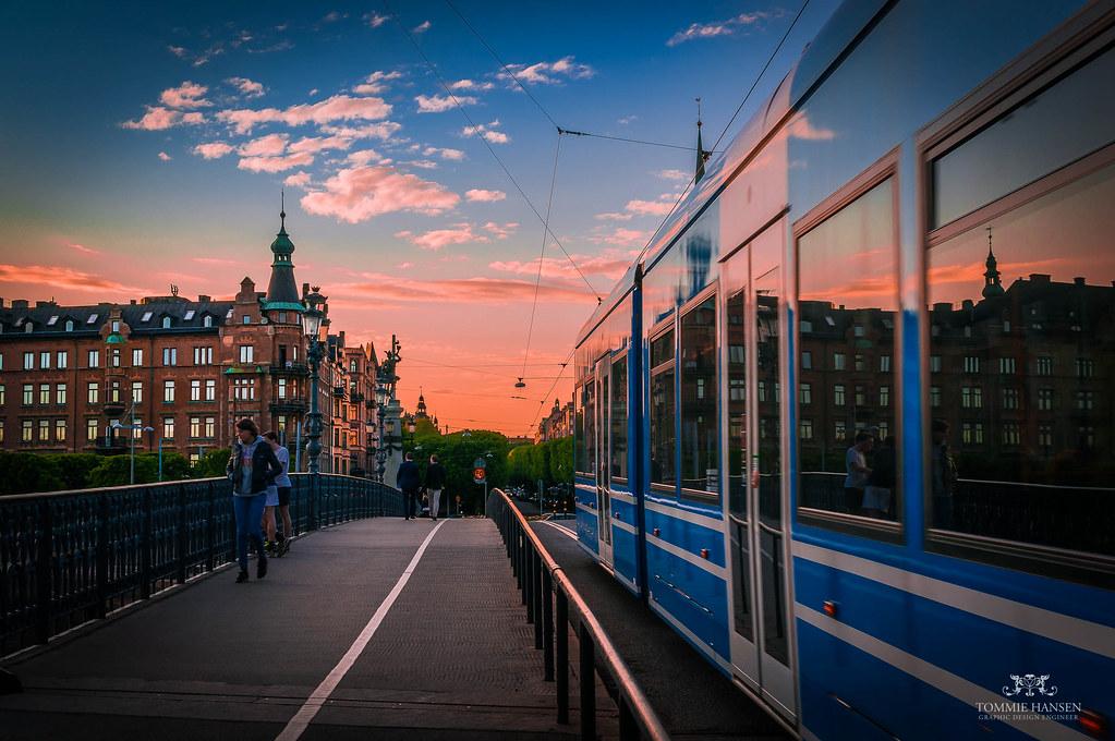 Djurgårdsbron, tram and a pink sunset (Stockholm)
