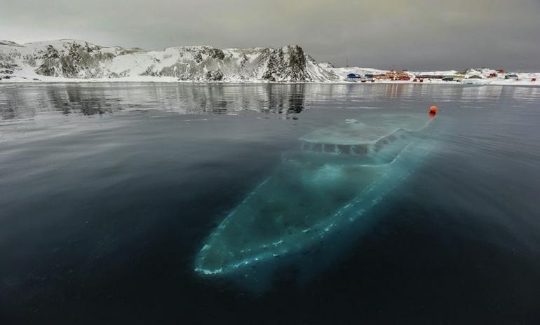 17. Sunken yacht in Antarctica