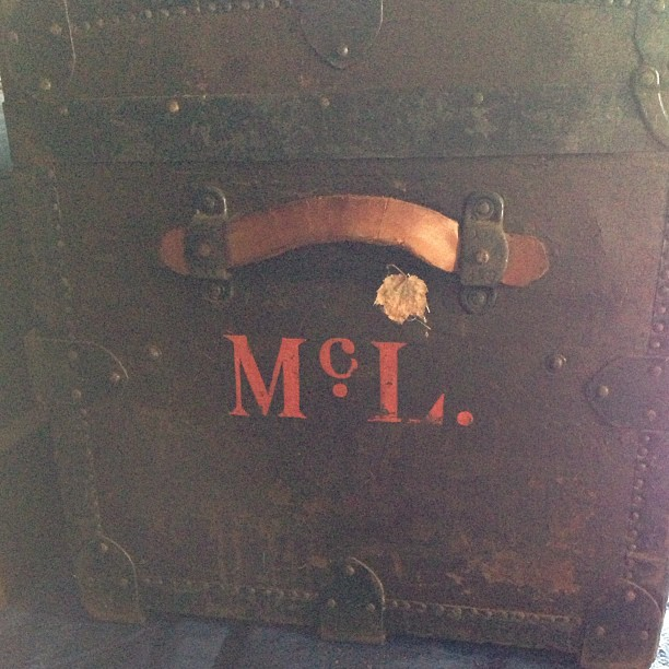 Antique trunk monogram #garagesale #typography