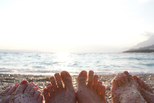 Toes in the sand in Makarska
