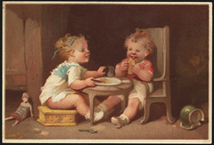 Two children eating. [front]