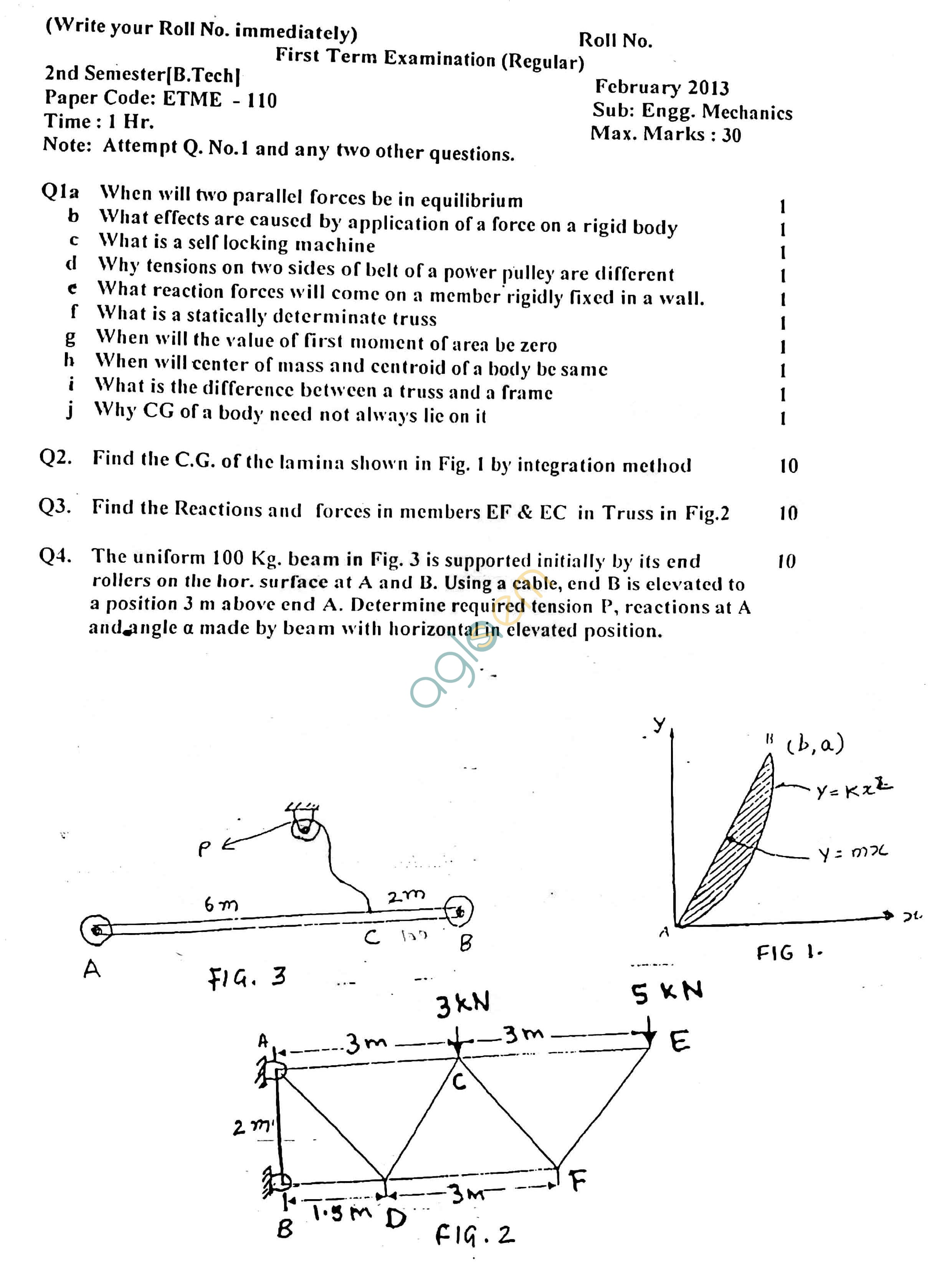GGSIPU Question Papers Second Semester – First Term 2013 – ETME-110
