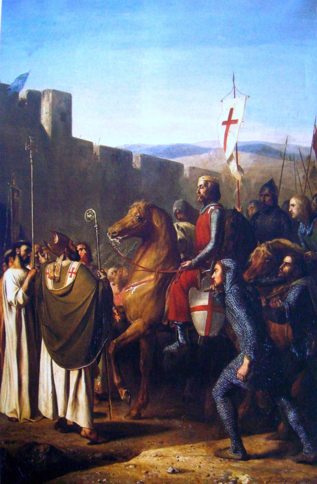 15. La vanguardia del ejército, antes de la batalla. Obra de J. Robert-Fleury, 1840