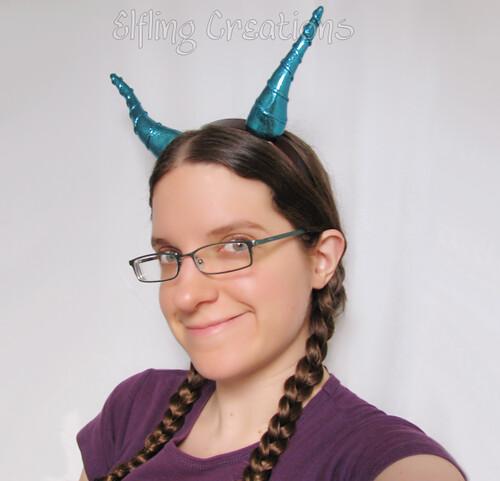 Blue Dragon Horns on a Headband