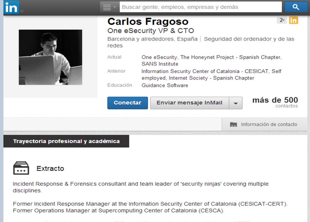 captura presumpte responsable informe CESICAT mov. socials amb perfil profesional de Carles Fragoso
