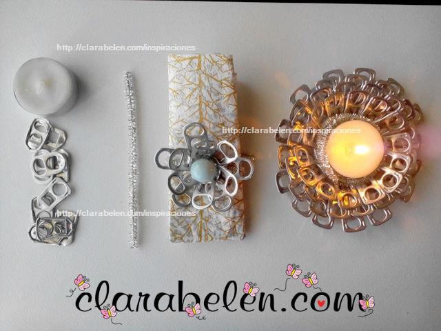 Portavelas y servilleteros hechos con anillas de refrescos para la Navidad