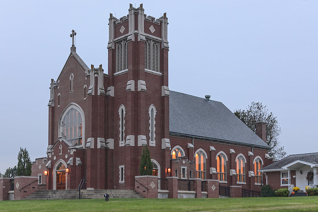 Saint John the Evangelist Roman Catholic Church, in Paducah, Kentucky, USA - exterior at dusk