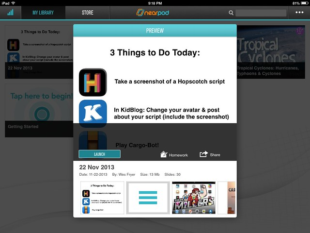 Tap LAUNCH in Nearpod to start a presentation