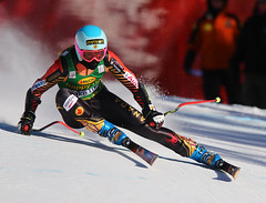 Gagnon in action in the Super-G in Lake Louise, CAN