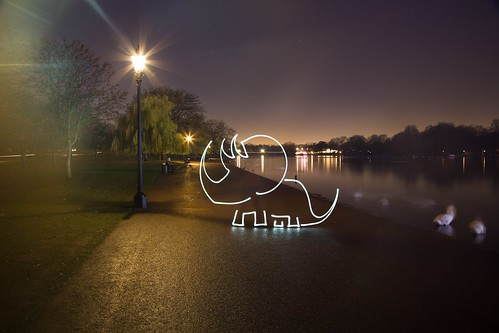 CREEtaceous Dinosaur (All In Camera Triceratops Light Painting), London Hyde Park by flatworldsedge