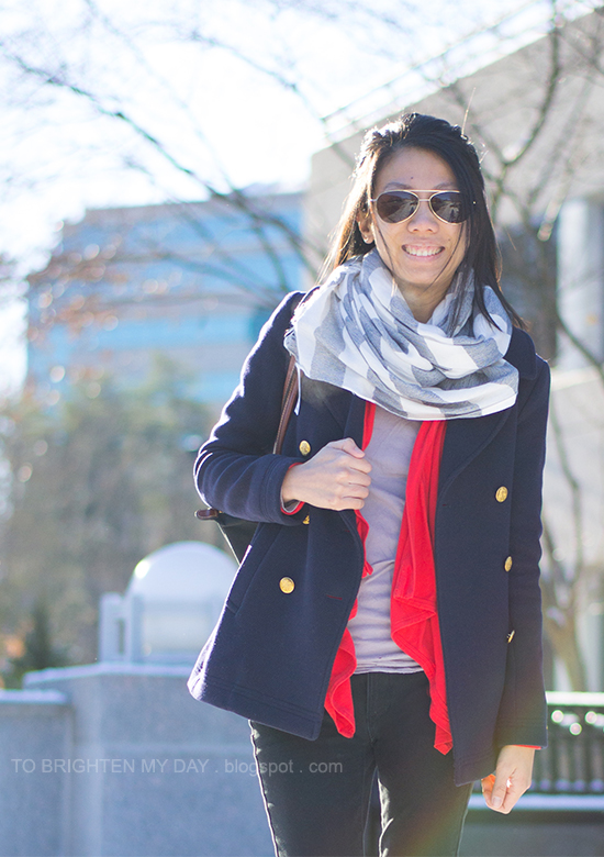 striped scarf, navy peacoat, coral cardigan
