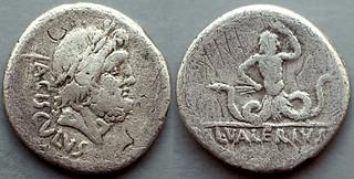 474/4 Valeria Denarius. L.VALERIVS ACISCVLVS Jupiter in laurel wreath, pickaxe; Anguipede giant piercing side with thunderbolt. Exceedingly rare, Syd.R9. AM#1478-34, 17mm 3g40