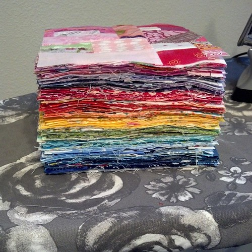 Rainbow of 108 scrap blocks. Ready to take to retreat next week.