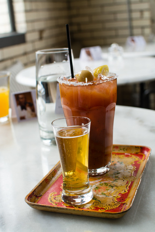 Beer and Bloody Mary at Olio